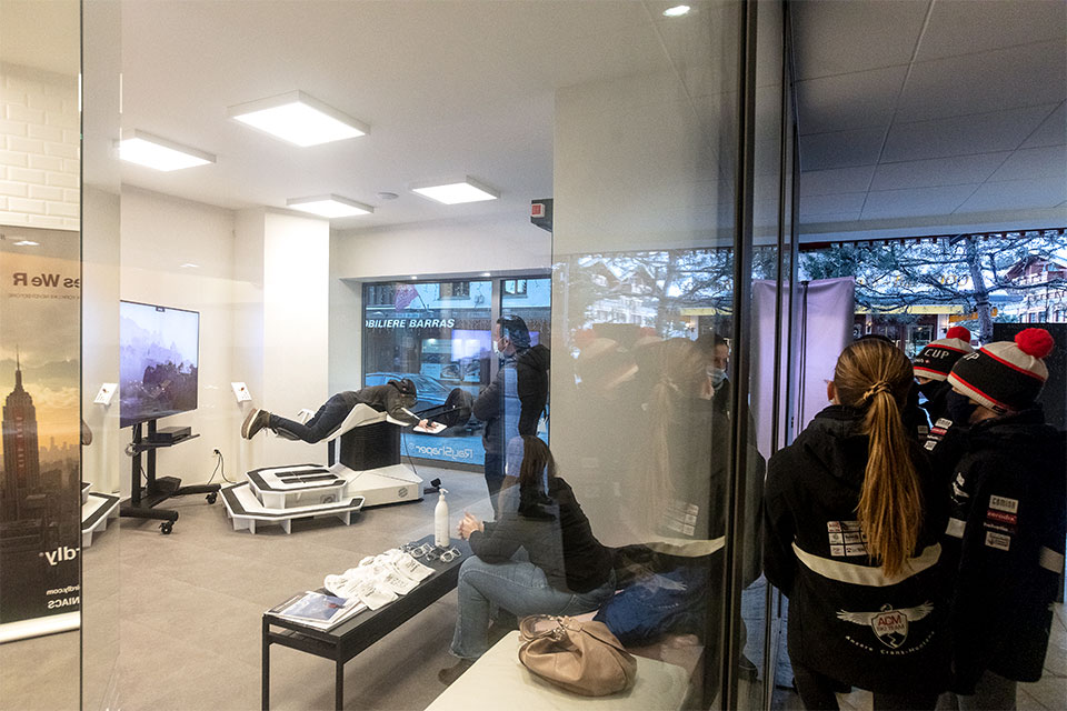 Virtual Travel Lounge in Crans-Montana featuring Birdly